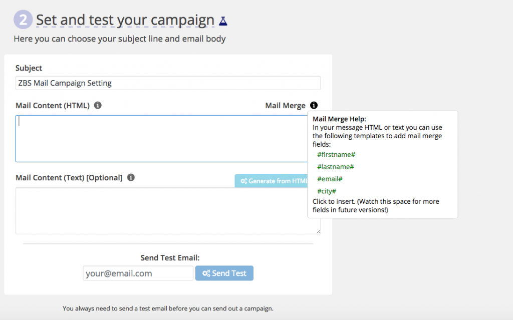 ZBS CRM Mail Campaigns