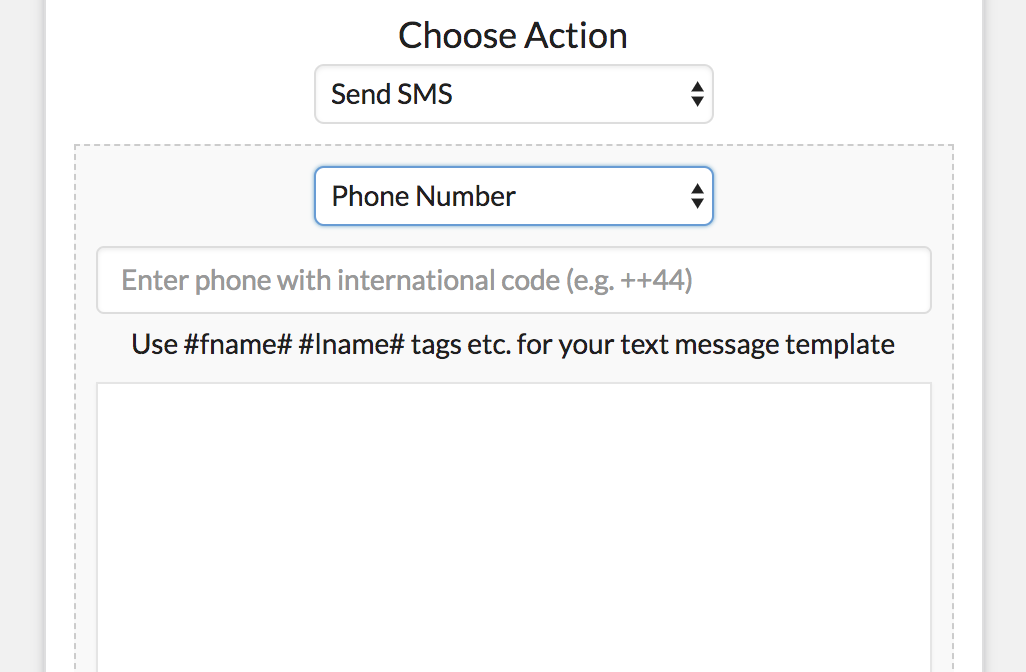 Choose SMS Action