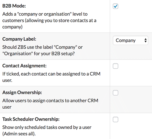 Enabled B2B Mode in ZBS CRM settings