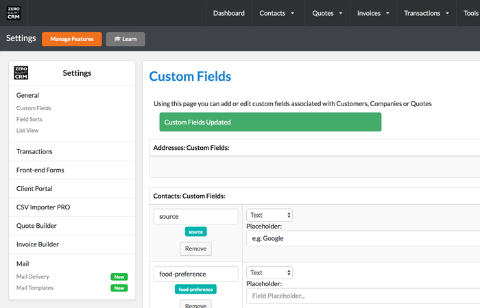 Custom Fields on contacts in Zero BS CRM