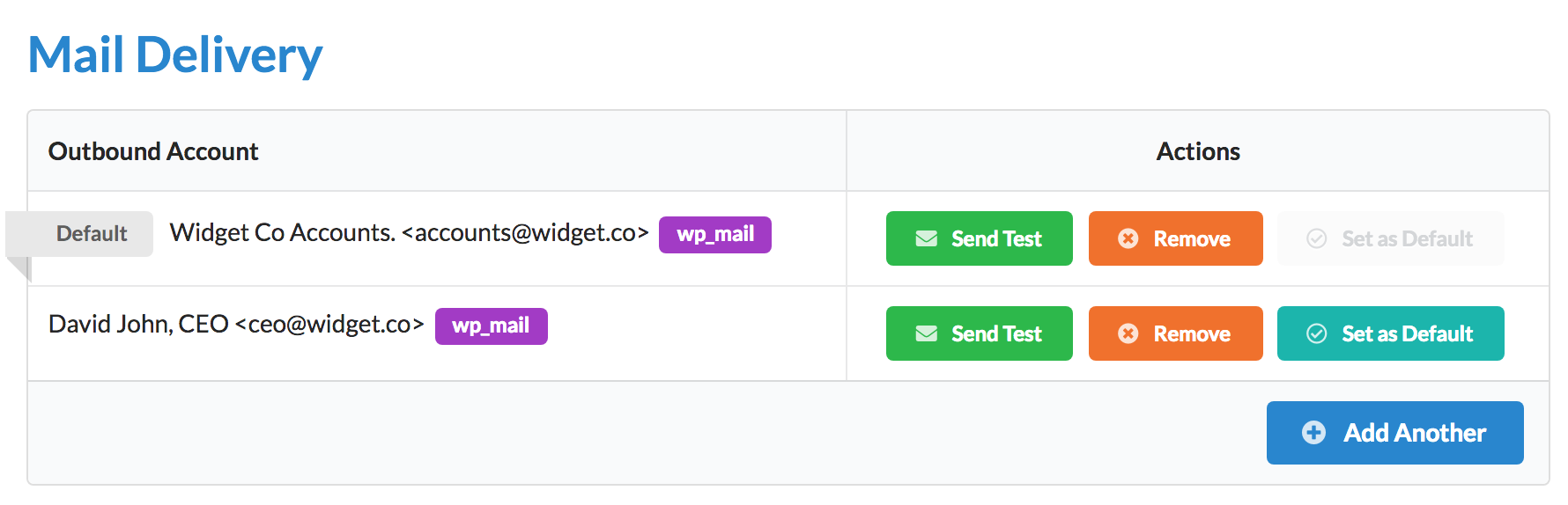 Zero BS CRM Mail Delivery List View - list your SMTP accounts setup in zbs