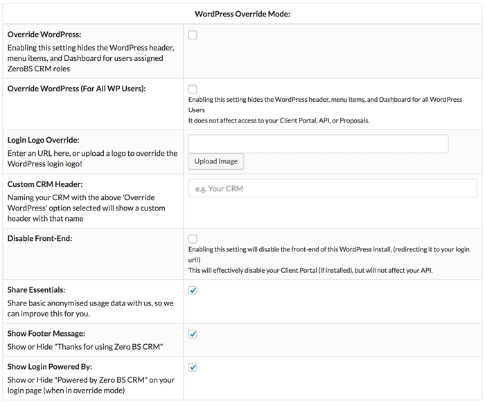 Many CRM override, rebranding, and look & feel settings in Zero BS CRM for WordPress