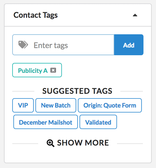Easily add or remove tags from contacts in Zero BS CRM