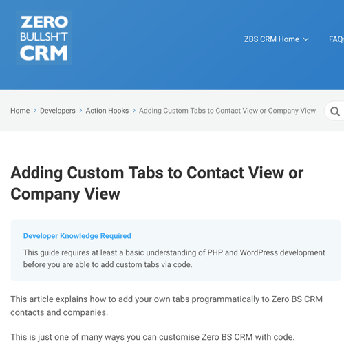 Developer Guides in the CRM knowledgebase
