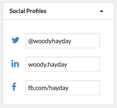 Edit social profile urls against a crm contact