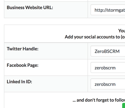 Add your business social accounts in the crm settings