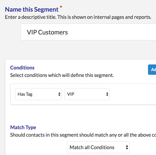 Tags in segments in ZBS CRM